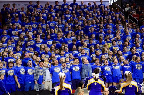 WE ARE PROUD OF YOU The Eagles Nest cheered the basketball team on at every game, and even after the buzzer.