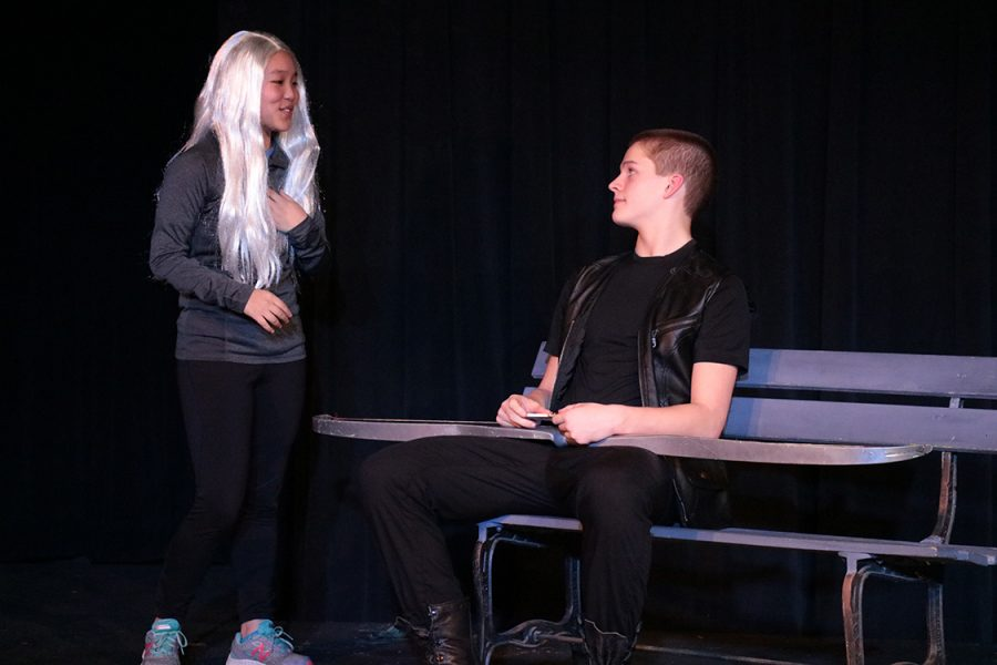 Samara Wigginton,'20, and Isaac Ripley,'20, act out a scene from the one act play,