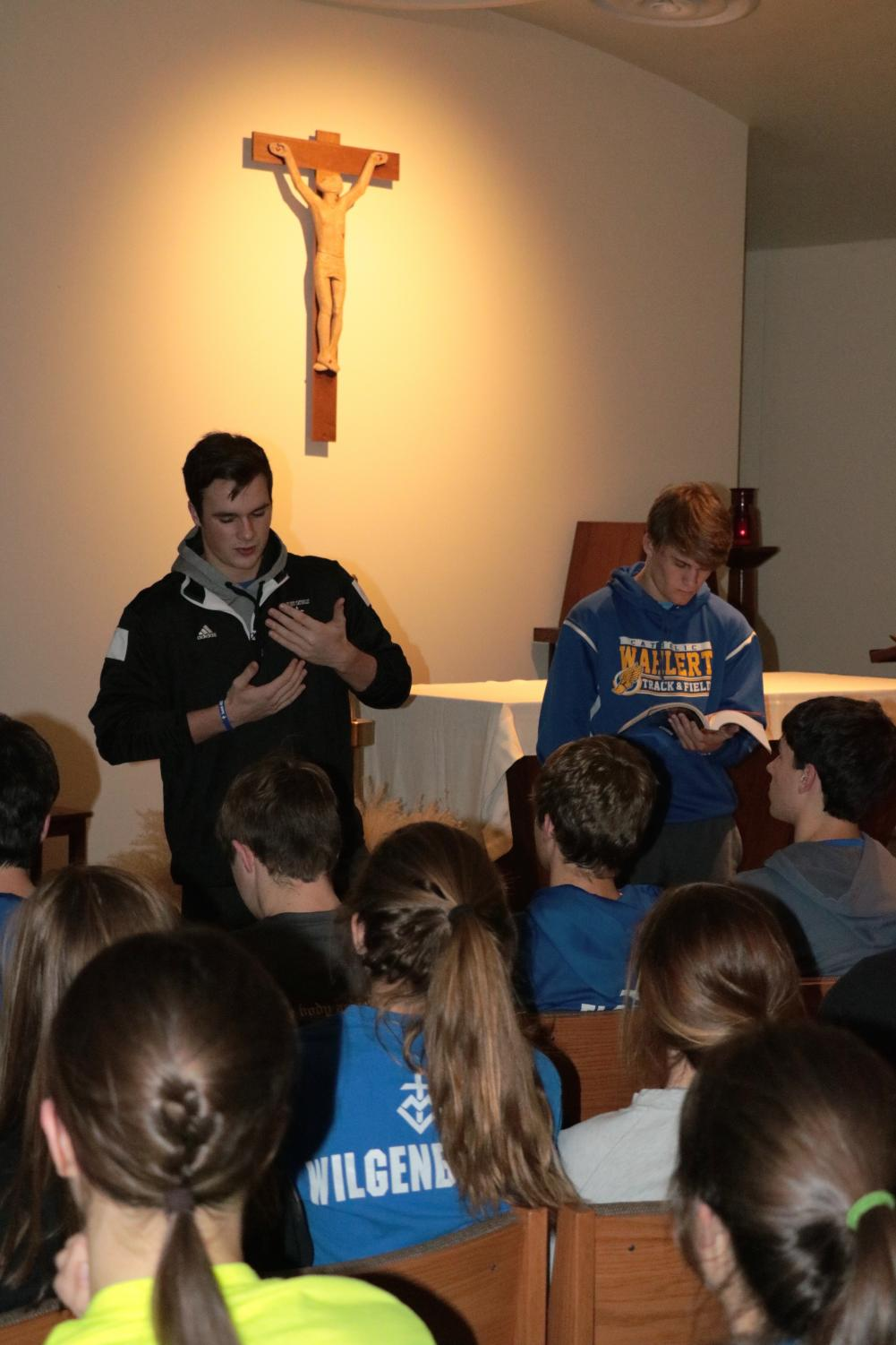 Joe Friend and Zach Kemp, '18, lead the discussion for FCA in the chapel.
