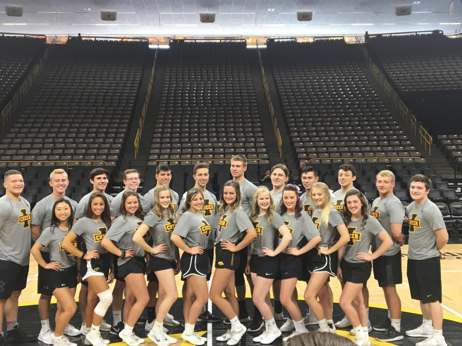 The 2018 University of Iowa Spirit Squad poses for a photo (Brosius front row, far right).
