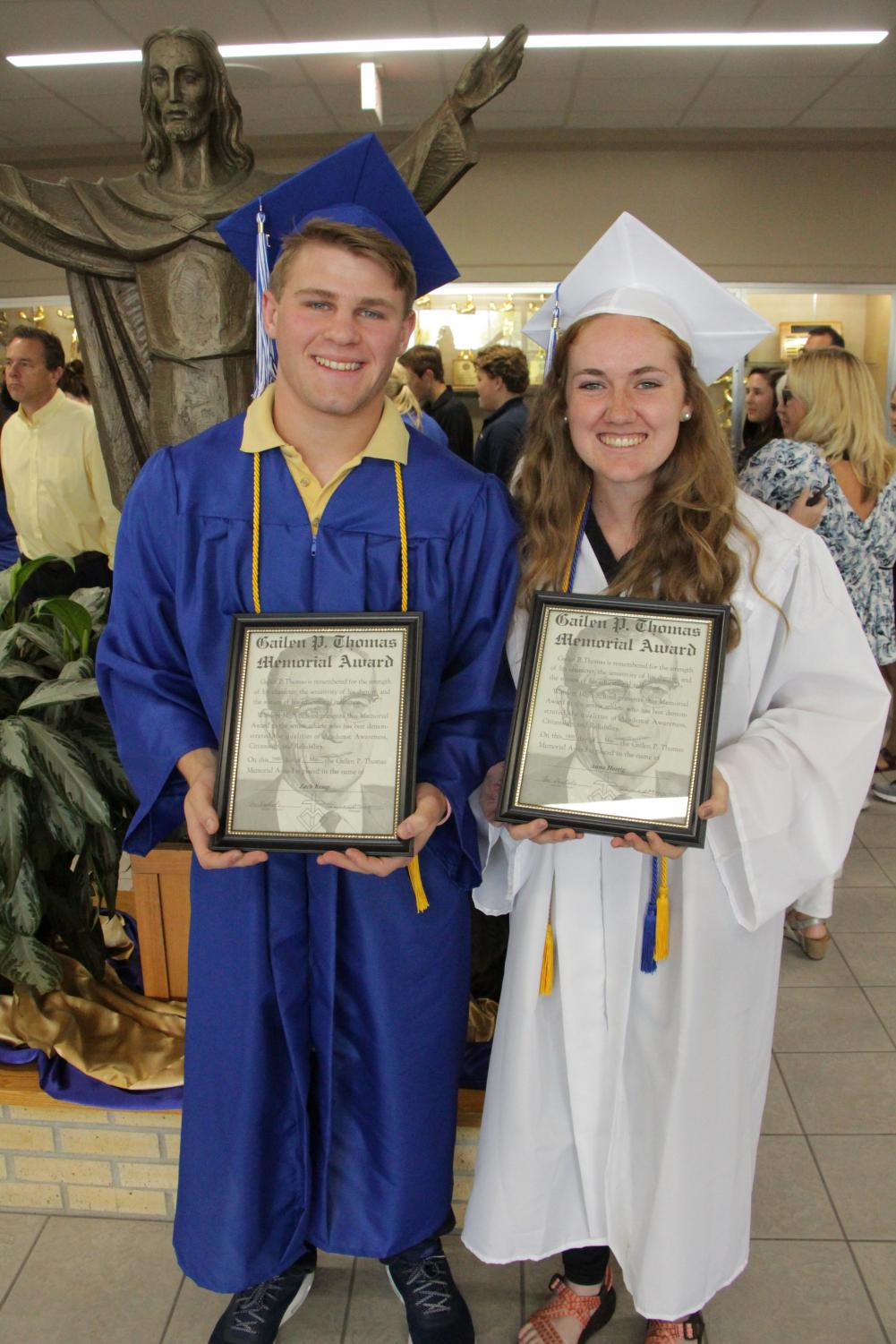 Awards Awards. and more Awards Zach Kemp, and Anna Herrig, '19 show off the Gailen P. Thomas Award, rewarding  their success in the classroom and their respective sports.