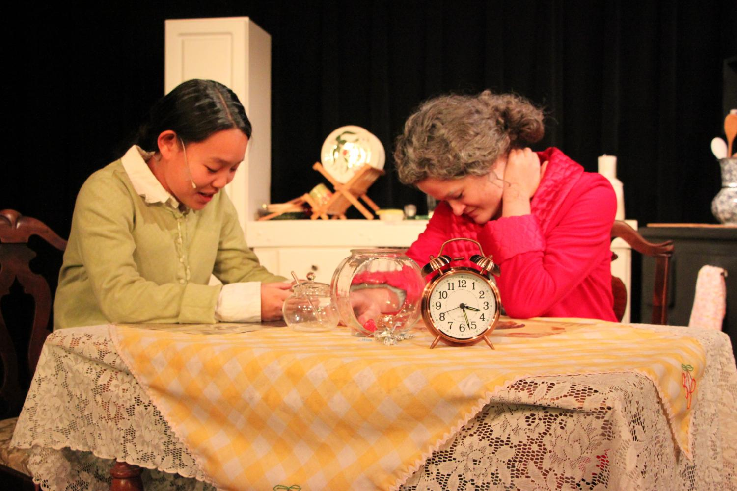 Samara Wigginton and Monica Ripley, '20, show emotion as they take on their roles of serious characters.