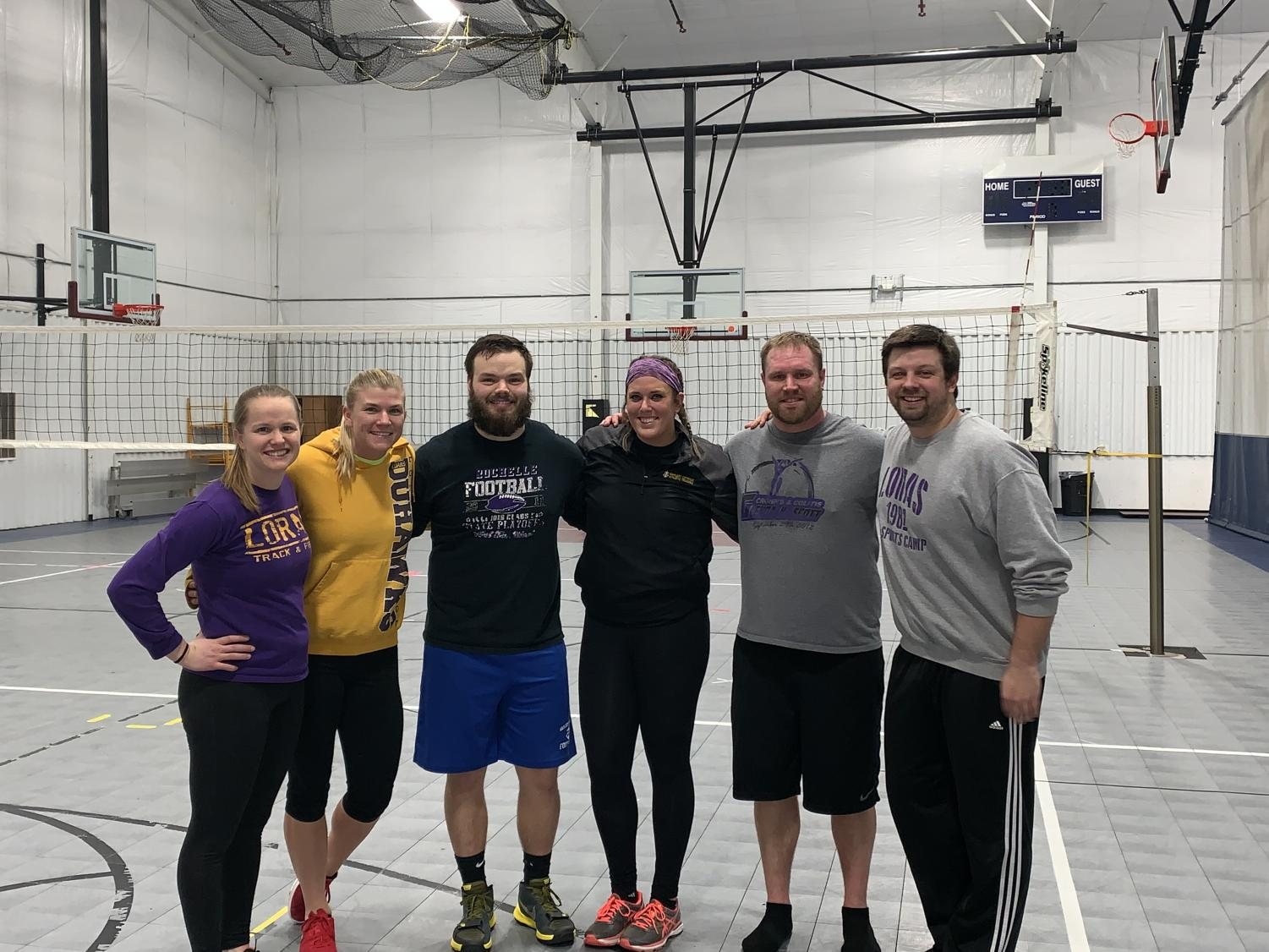 Wahlert teachers team up to compete in a rec volleyball league at Courtside.