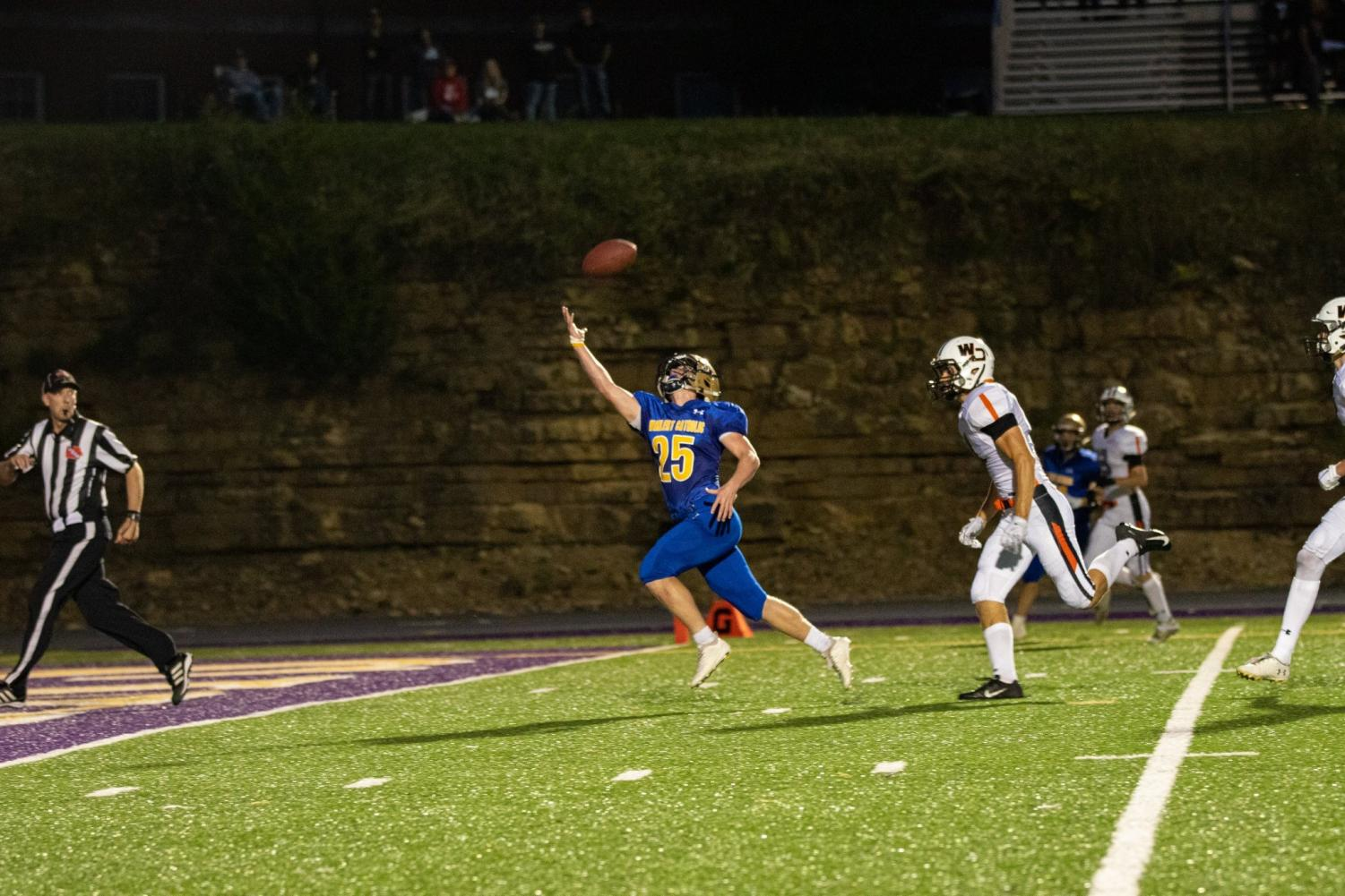 Jake Brosius '21 reaches for a one handed touchdown catch to score Wahlert's first touchdown of the season.