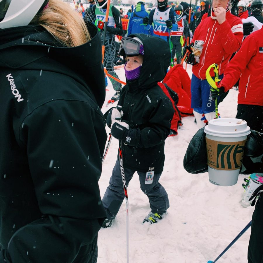 Second Grader at OLG checks times to see how she placed. Just like many ski racers, this young girl is starting off young in the race world. And from how she has been performing this year she looks to be following in Bonnets footsteps.