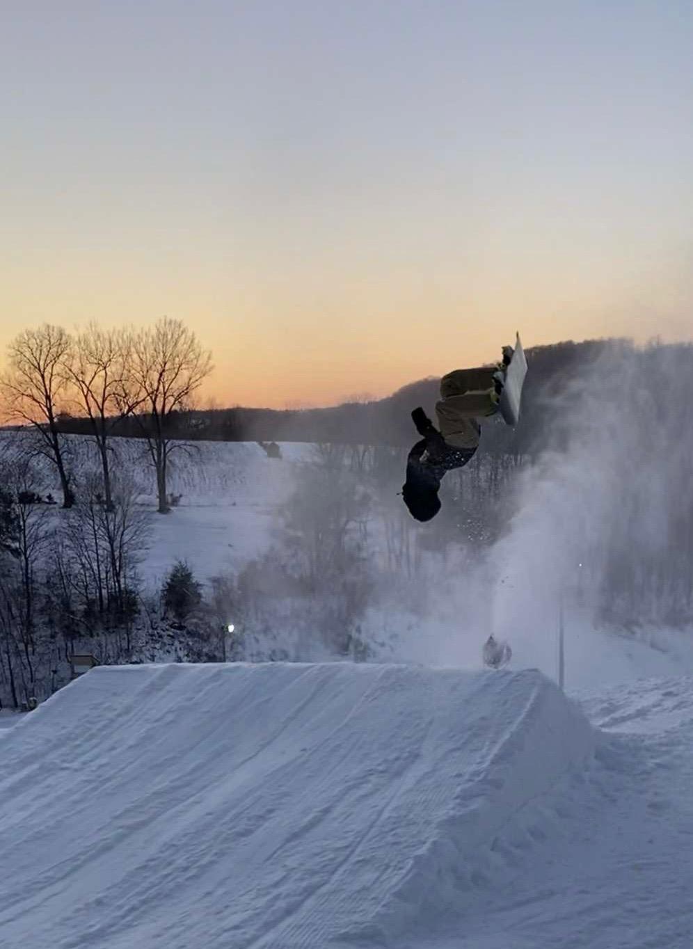 Adam Wagner, '21, at Sundown Mountain doing a backflip.