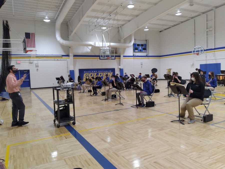 The band meets during mentor period to prepare for their concert