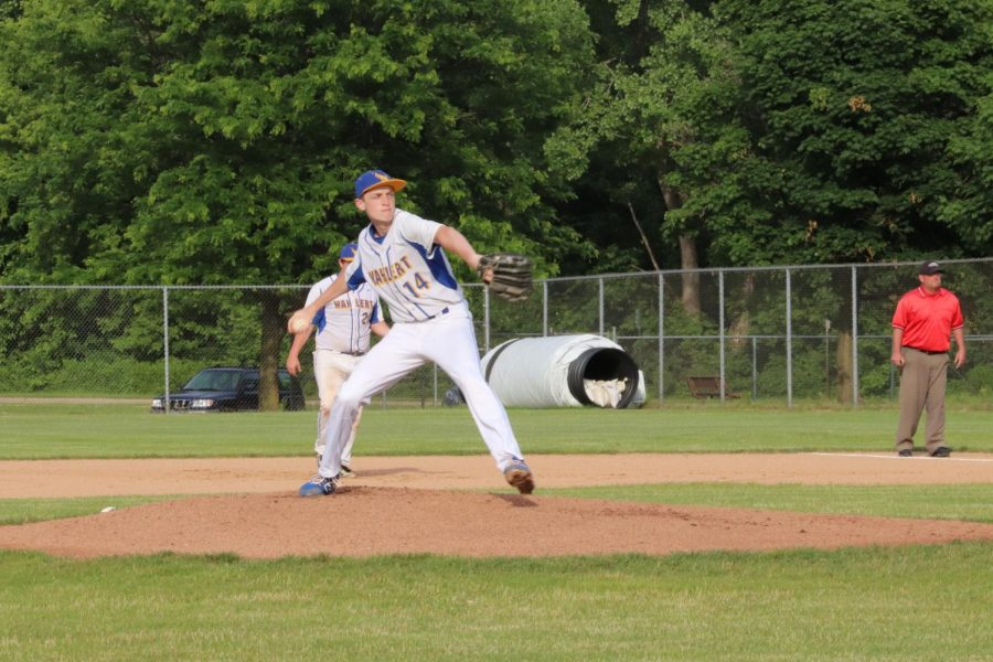 Aaron Savery, '22, throws a fastball when pitching at a Wahlert baseball game. The team went 6-6-1 for the 2020 season.